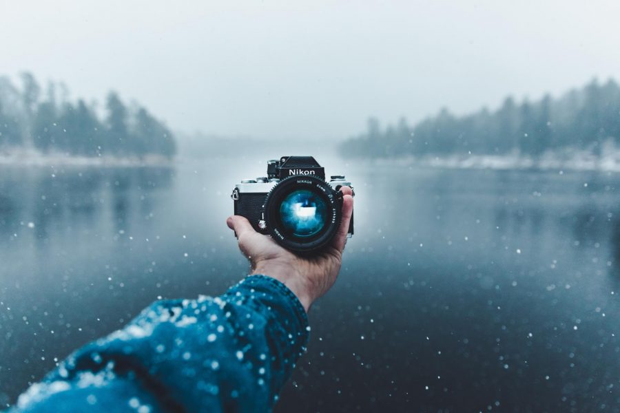 Taking a snowy selfie with a Nikon camera