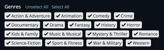 JustWatch's genre list