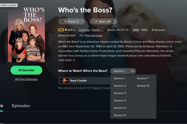 Episodes of Who's the Boss on Reelgood