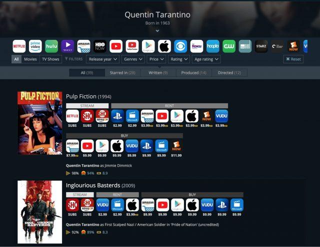 JustWatch' resultaten voor Quentin Tarantino