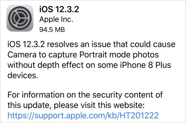 iOS 12.3.2 release notes