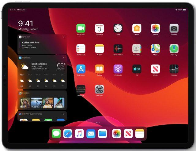 The iPadOS Home screen