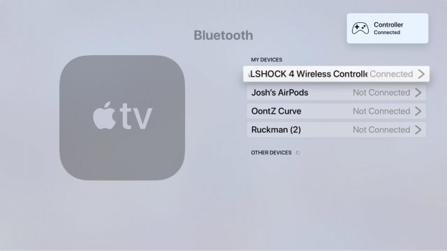 Connecting a PlayStation 4 controller in tvOS Settings