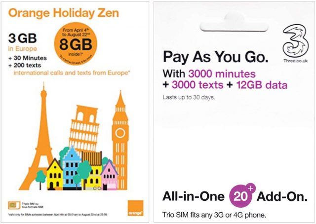 Orange and Three SIM packages