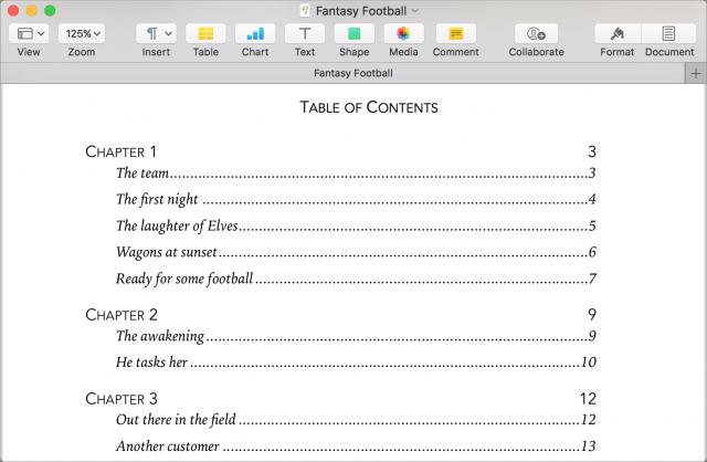 Opvultekens in een inhoudsopgave in Pages.
