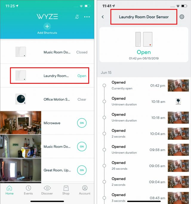 The Wyze Sense sensors in the app.