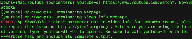 A youtube-dl error message