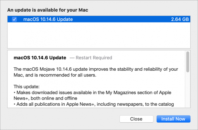 macOS 10.14.6 release notes