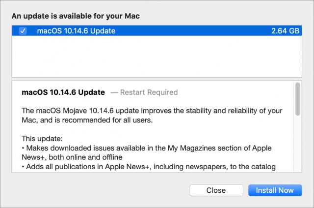 Toelichting bij macOS10.14.6