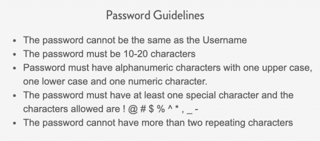 Citizens One password guidelines