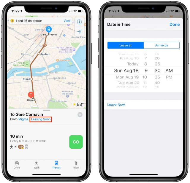 Screenshots of setting leaving time in Apple Maps