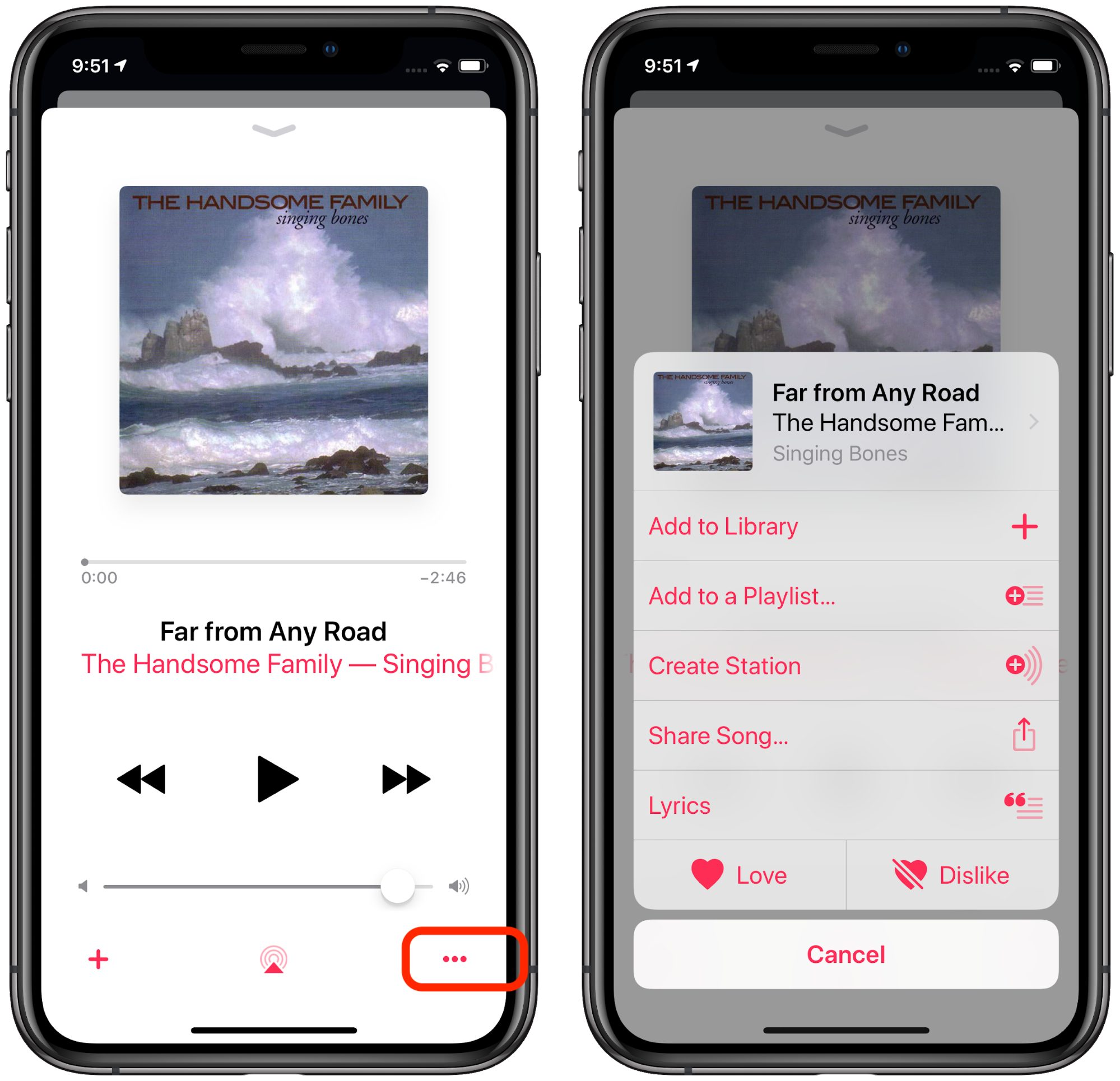 Ellipses in the iOS 12 Music app