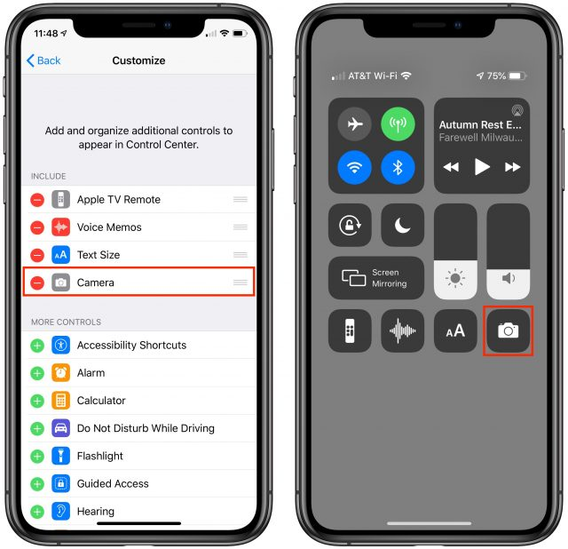 Screenshots of Control Center