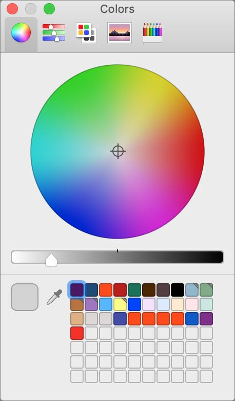 macOS Colors palette