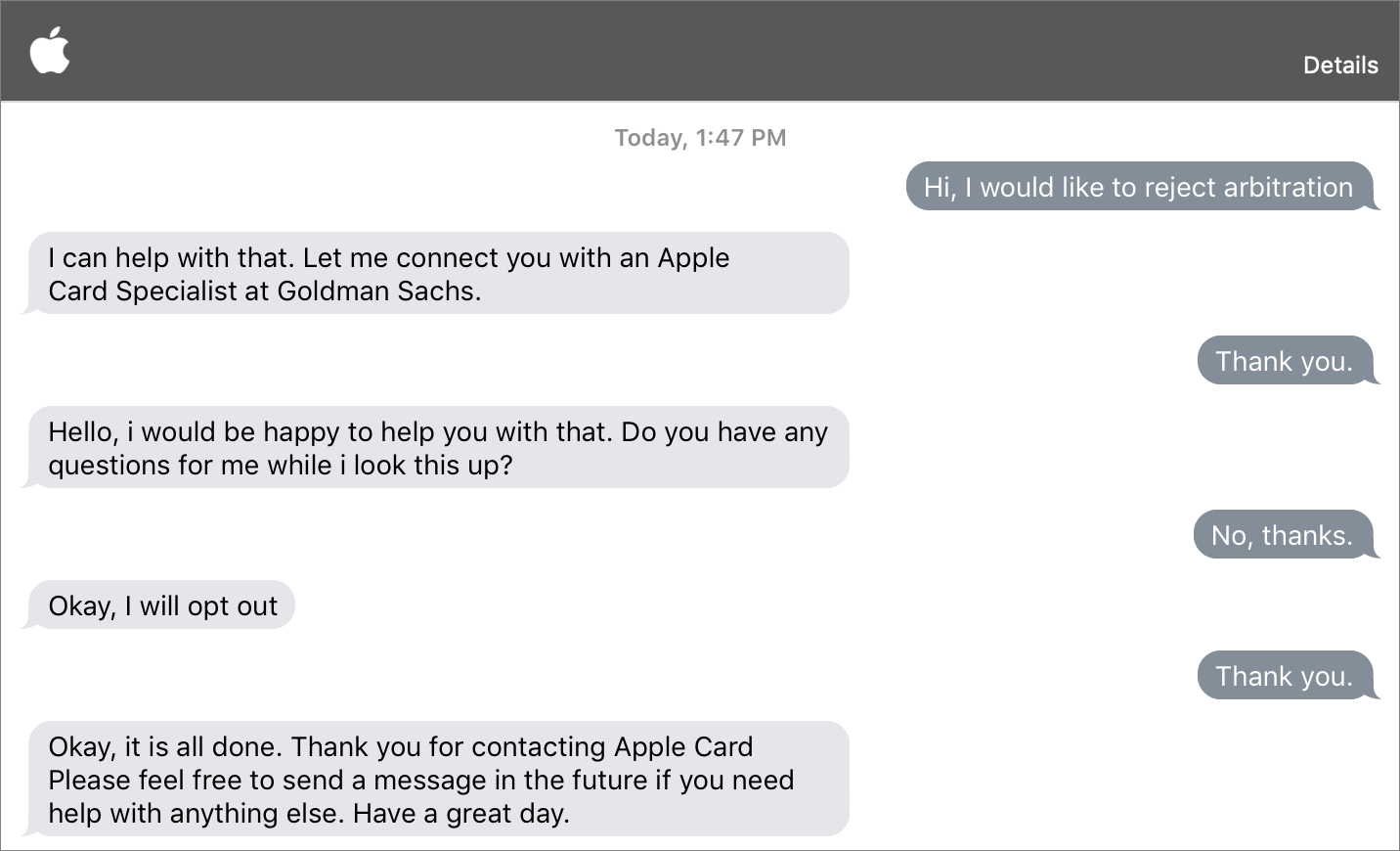 Josh's conversation with Apple Support for opting out of arbitration.