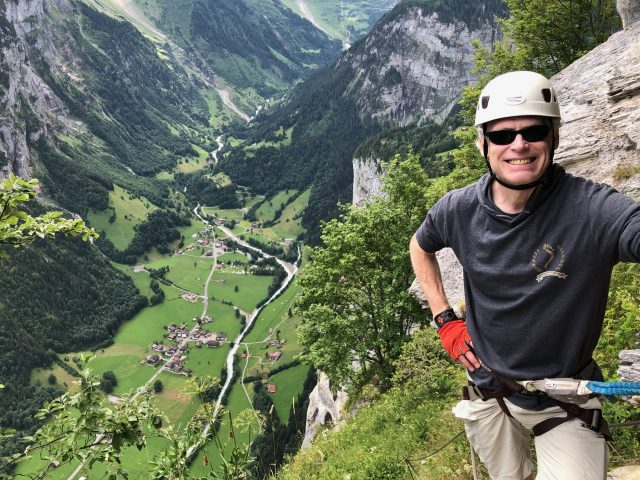 Selfie of Adam Engst during via ferrata