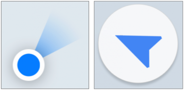 Directional icons in Apple Maps and Google Maps