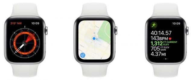 Apple Watch showing compass features