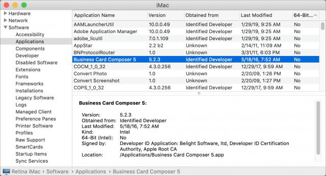 Schermafbeelding van de app Systeeminformatie met een lijst aps die met Nee zijn gemakrkeerd op 64-bits compatibiliteit.