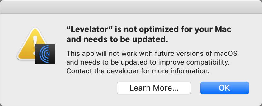 Levelator's 32-bit warning