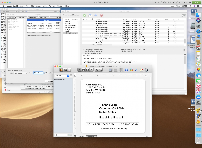 Screenshot of Parallel running Mojave.
