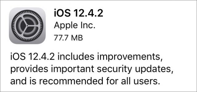 iOS 12.4.2 release notes