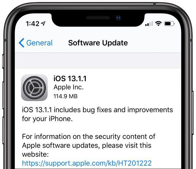 iOS 13.1.1 install screen