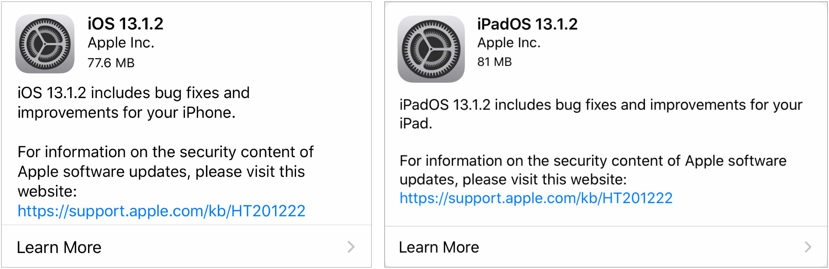 iOS and iPadOS 13.1.2 release notes