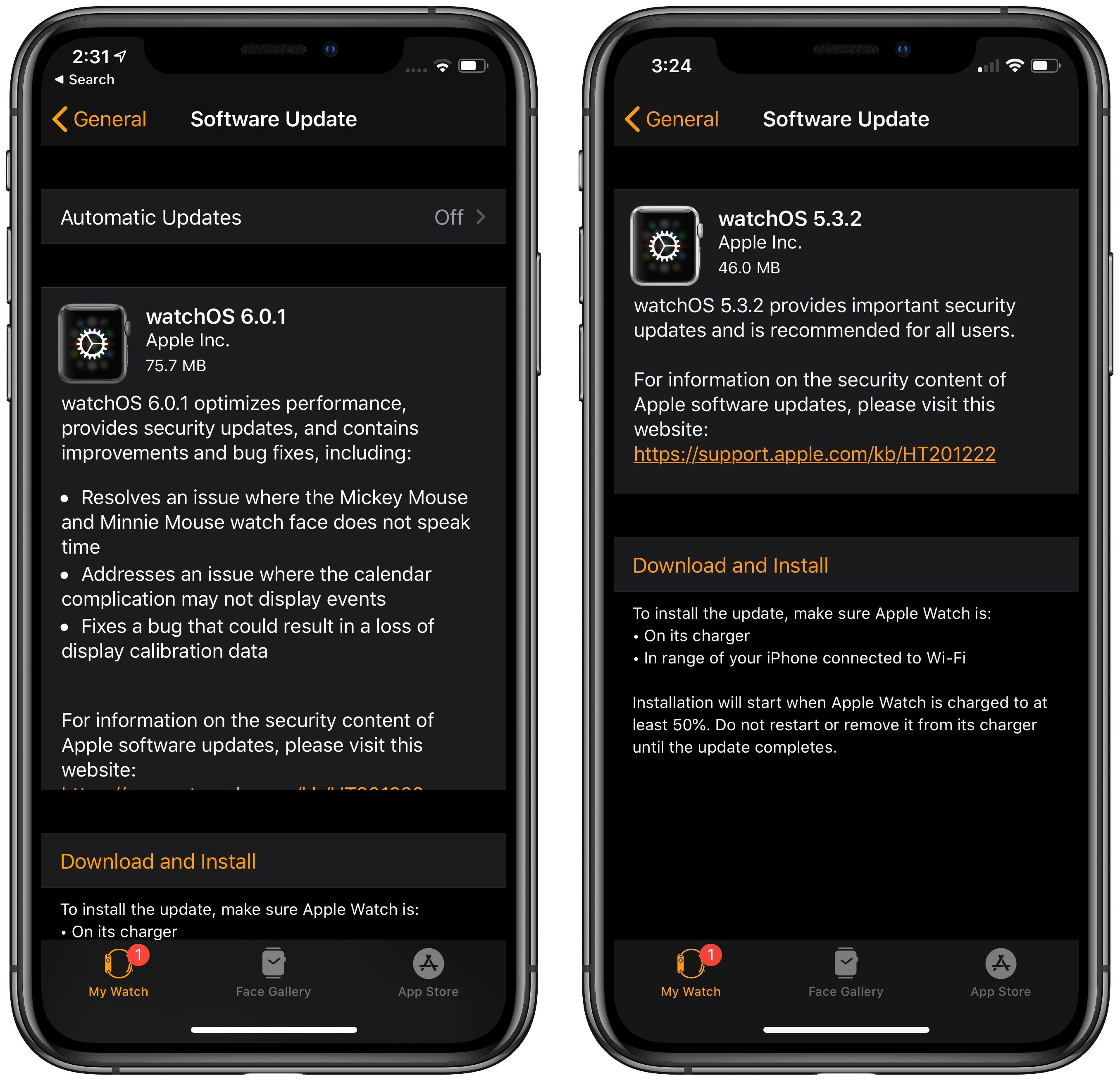 Release notes for watchOS 5.3.2 and 6.0.1