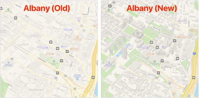 Old and new versions of Apple Maps data for Albany, NY