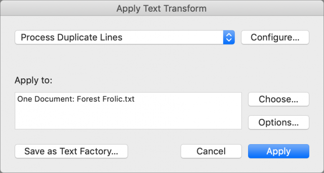 BBEdit 13 Apply Text Transform dialog