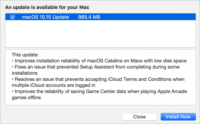 macOS 10.15 Catalina Supplemental Update