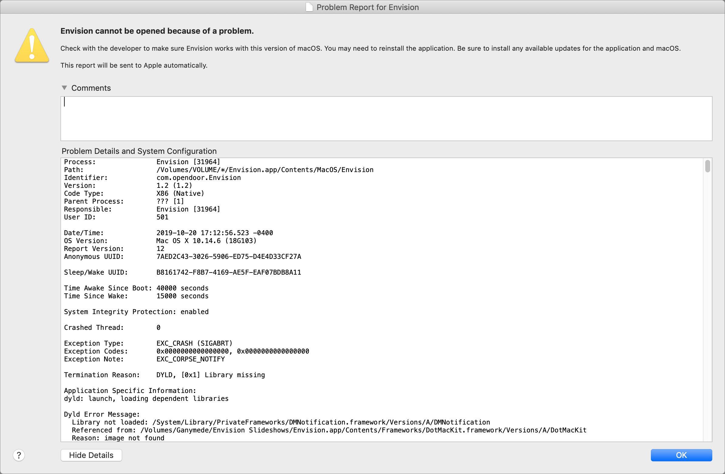 Een crash report op een Mac