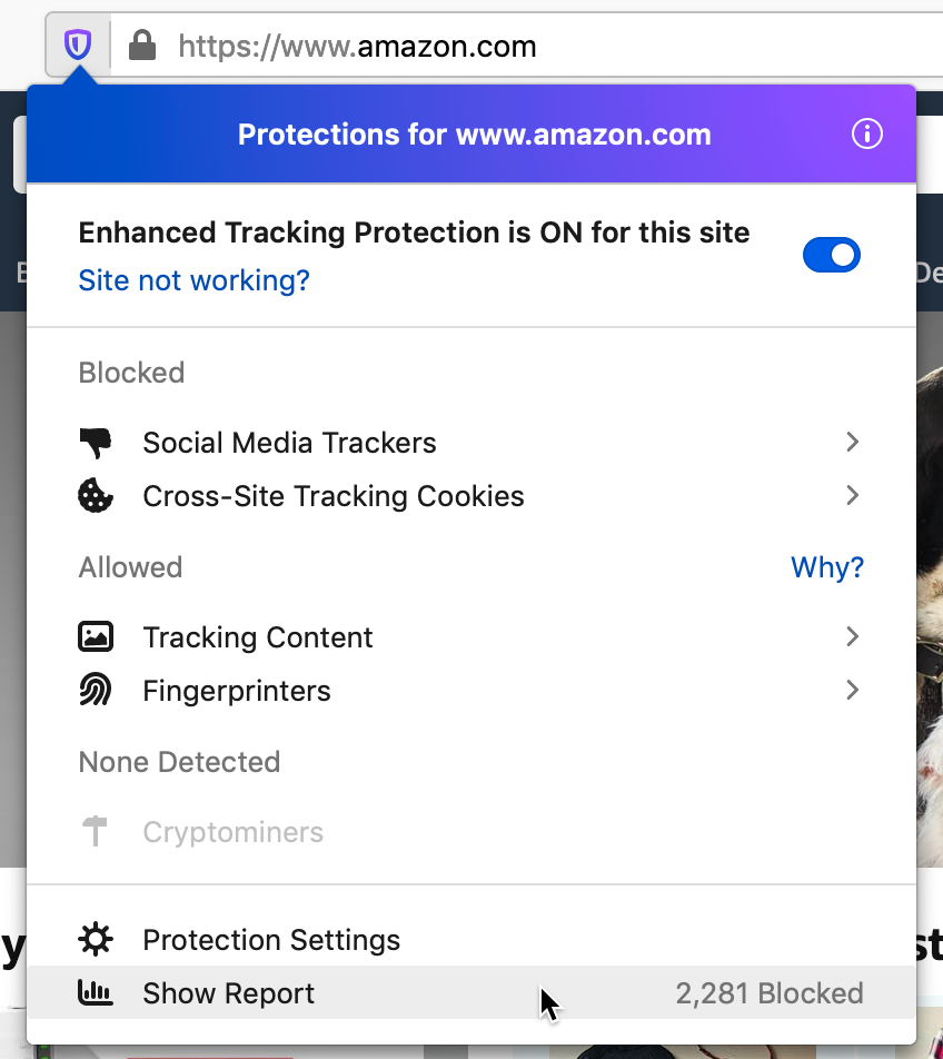 Firefox 70 Privacy Protection report