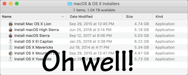 A collection of old macOS installers