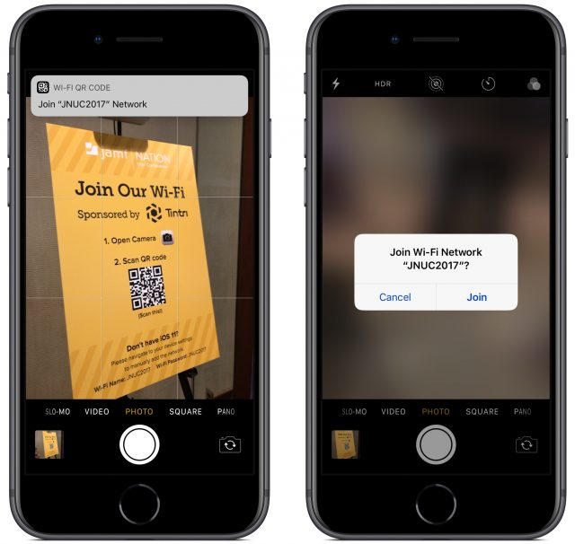 An image of a QR code and iOS recognizing it as a Wi-Fi network and displaying a message to join it.