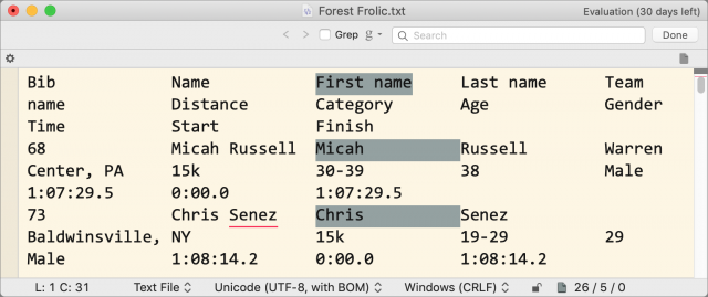BBEdit 13 rectangular text selections