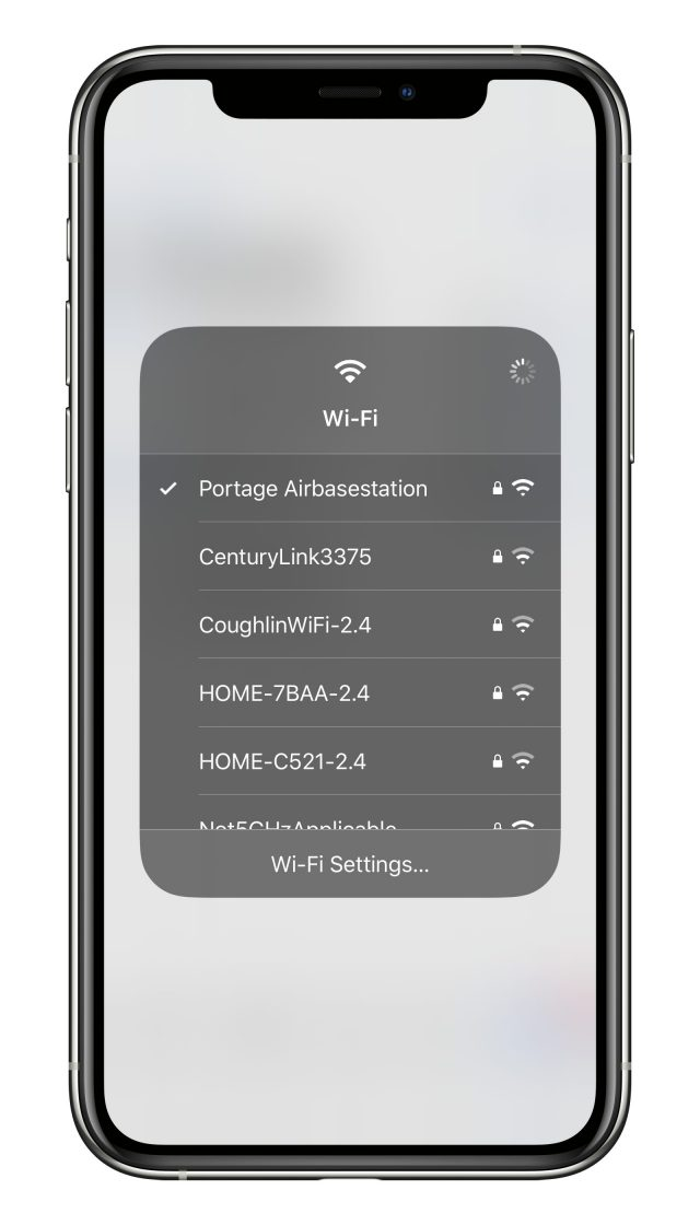 The Control Center's Wi-Fi menu pop-up list.