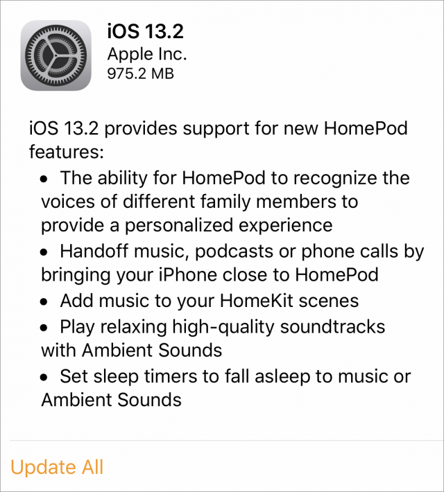 iOS 13.2 release notes for HomePod