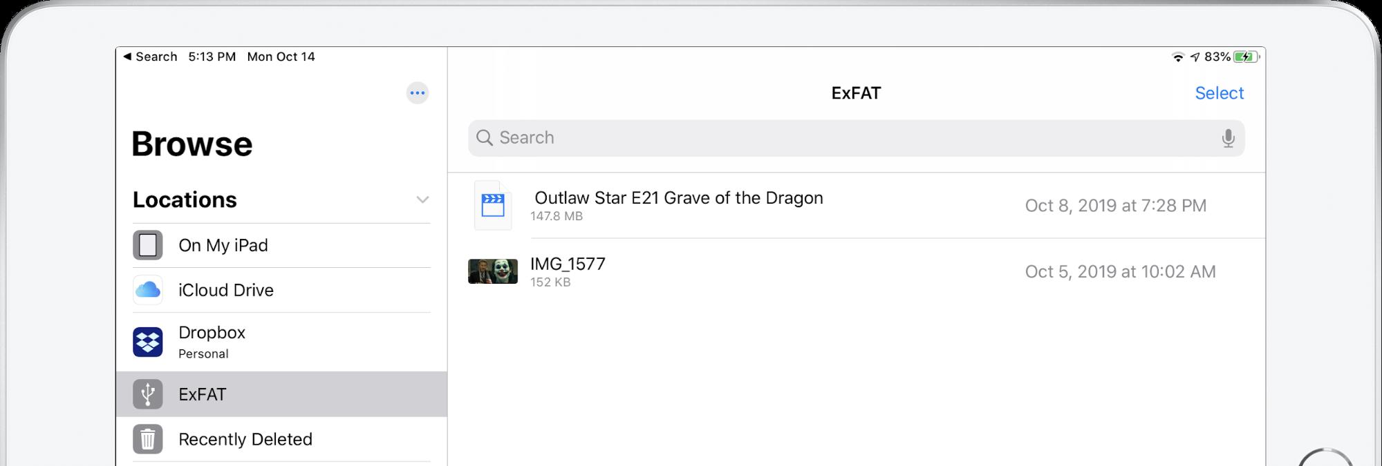 Een geheugenstick in de navigatiekolom van Files op de iPad.