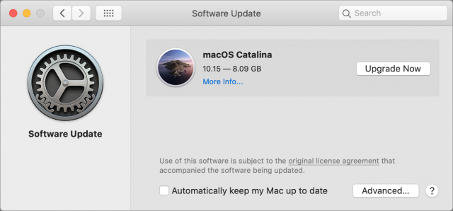 Catalina upgrade in Software Update