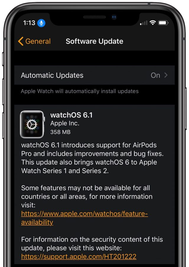 watchOS 6.1 release notes