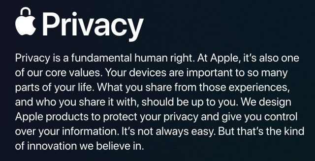 Apple's new privacy statement.