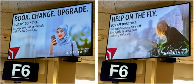 Photos of Delta advertising its Fly Delta app in the airport