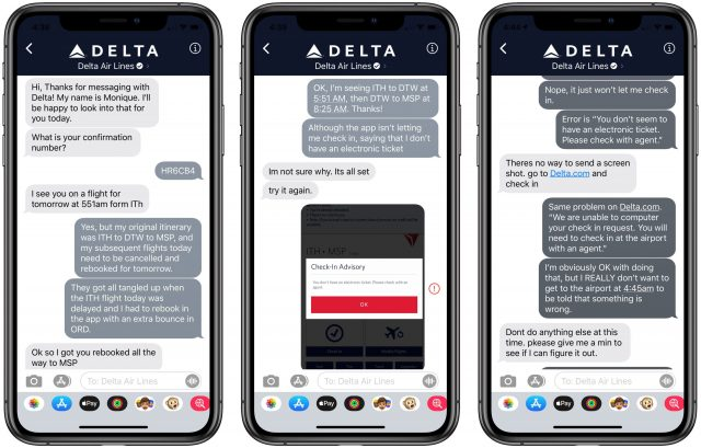 Transcript of a Business Chat with Delta