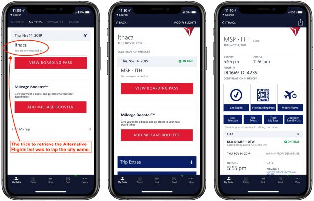 Screenshots of the My Trips screen in the Fly Delta app