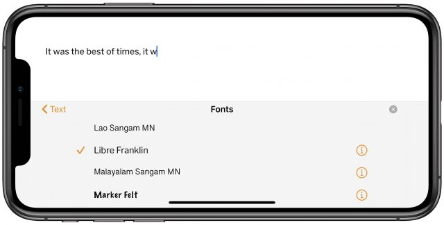 Using custom fonts in Pages for iOS