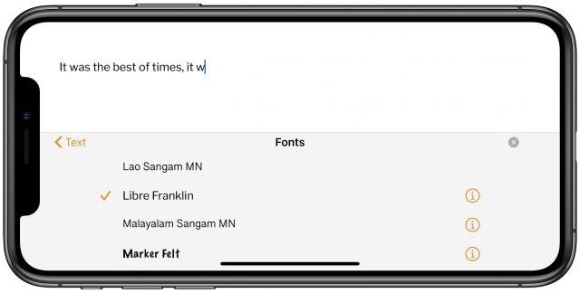 Niet-standaard lettertypen gebruiken in Pages voor iOS
