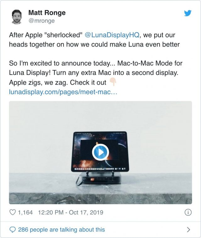Tweet announcing Mac-to-Mac