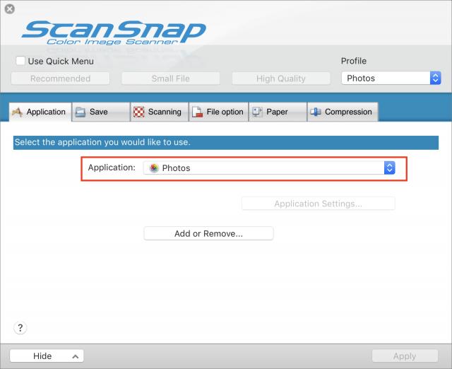 ScanSnap configureren voor foto-gebruik.